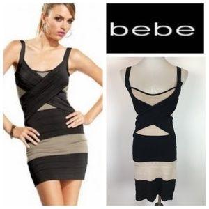 bebe Tan Black Crisscross Bandage Bodycon Dress